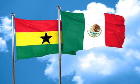 ghanese: Ghana flag with Mexico flag, 3D rendering