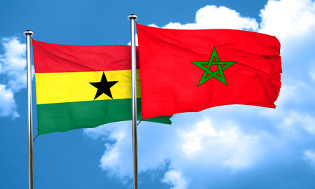 ghana: Ghana flag with Morocco flag, 3D rendering Stock Photo