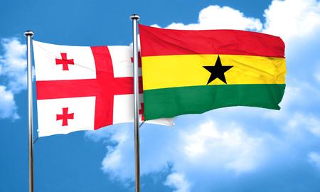 ghana: Georgia flag with Ghana flag, 3D rendering