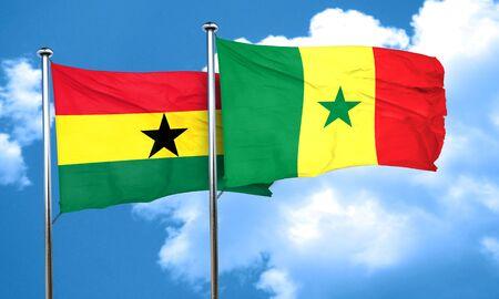 ghana: Ghana flag with Senegal flag, 3D rendering