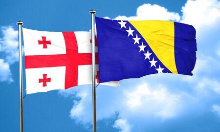 bosnia and herzegovina flag: Georgia flag with Bosnia and Herzegovina flag, 3D rendering