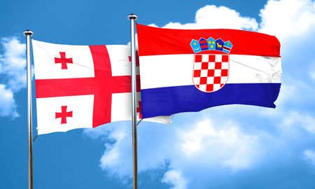bandera croacia: bandera de Georgia con la bandera de Croacia, 3D Foto de archivo