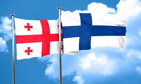 FINLAND flag: Georgia flag with Finland flag, 3D rendering