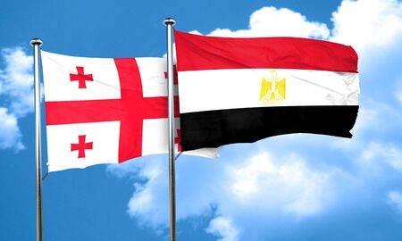 egypt flag: Georgia flag with egypt flag, 3D rendering