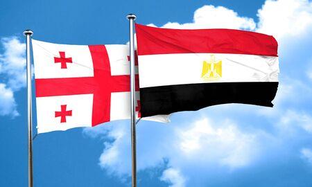 egypt flag: Georgia flag with egypt flag, 3D rendering