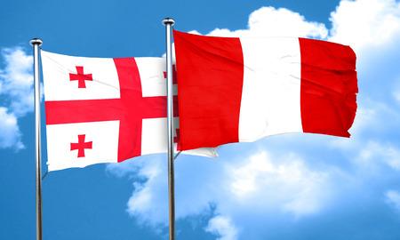 bandera peru: bandera de Georgia con la bandera de Per�, 3D