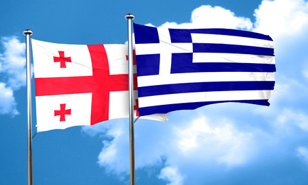 greece flag: Georgia flag with Greece flag, 3D rendering Stock Photo