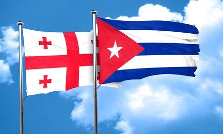 bandera cuba: bandera de Georgia con la bandera de Cuba, 3D