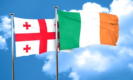 ireland flag: Georgia flag with Ireland flag, 3D rendering Stock Photo