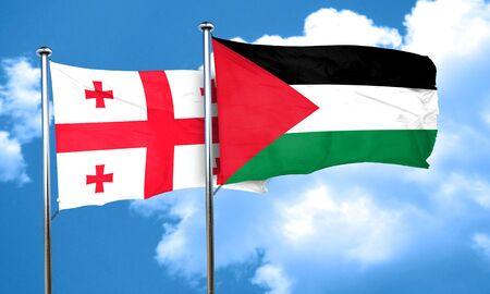palestine: Georgia flag with Palestine flag, 3D rendering