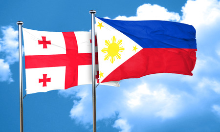 philippino: Georgia flag with Philippines flag, 3D rendering