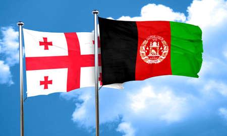 Georgia flag with afghanistan flag, 3D rendering