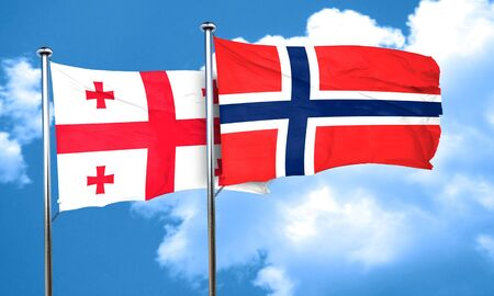 norway flag: Georgia flag with Norway flag, 3D rendering Stock Photo