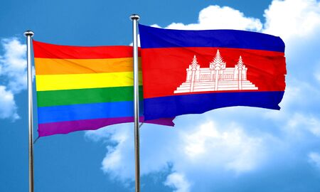 gay pride flag: Gay pride flag with Cambodia flag, 3D rendering Stock Photo