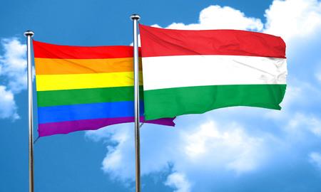 gay pride flag: Gay pride flag with Hungary flag, 3D rendering