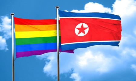 gay pride flag: Gay pride flag with North Korea flag, 3D rendering