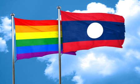 gay pride flag: Gay pride flag with Laos flag, 3D rendering Stock Photo
