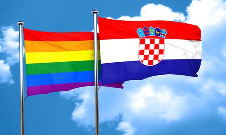 gay pride flag: Gay pride flag with Croatia flag, 3D rendering