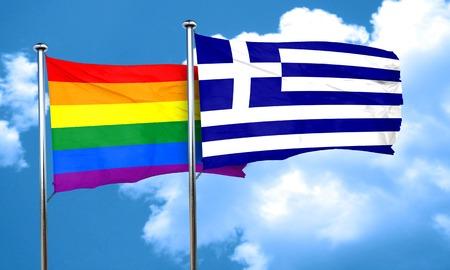 gay pride flag: Gay pride flag with Greece flag, 3D rendering