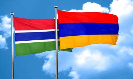 armenia: Gambia flag with Armenia flag, 3D rendering
