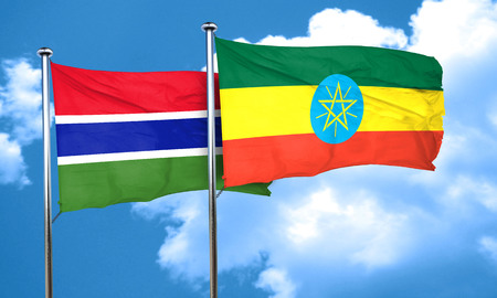 ethiopia  flag: Gambia flag with Ethiopia flag, 3D rendering