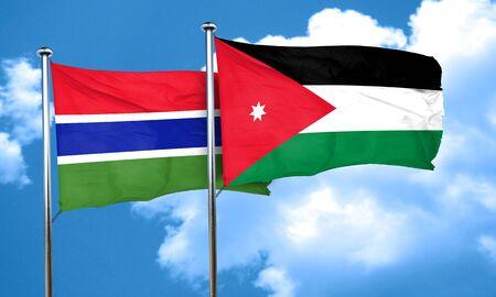 jordan: Gambia flag with Jordan flag, 3D rendering Stock Photo