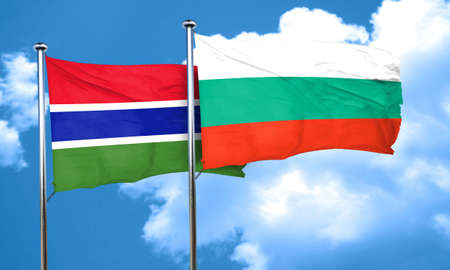 gambia: Gambia flag with Bulgaria flag, 3D rendering