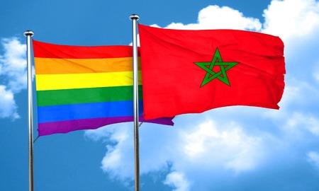 gay pride flag: Gay pride flag with Morocco flag, 3D rendering