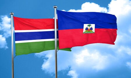 gambia: Gambia flag with Haiti flag, 3D rendering Stock Photo