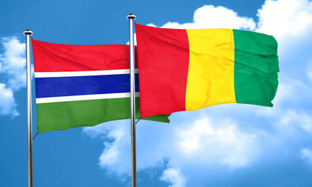 gambia: Gambia flag with Guinea flag, 3D rendering