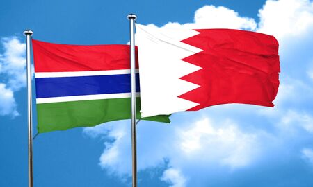 gambia: Gambia flag with Bahrain flag, 3D rendering