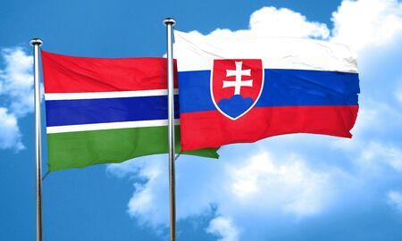slovakia flag: Gambia flag with Slovakia flag, 3D rendering
