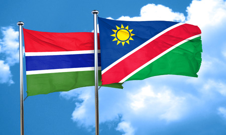 gambia: Gambia flag with Namibia flag, 3D rendering