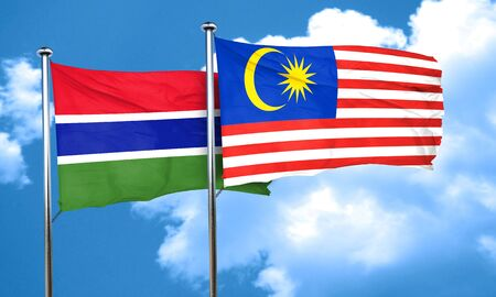 gambia: Gambia flag with Malaysia flag, 3D rendering Stock Photo