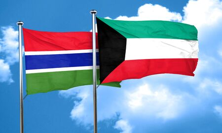 gambia: Gambia flag with Kuwait flag, 3D rendering
