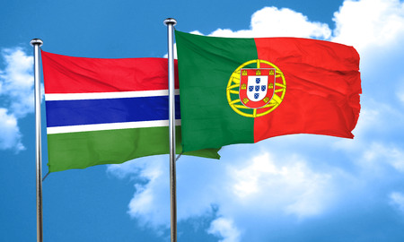 gambia: Gambia flag with Portugal flag, 3D rendering
