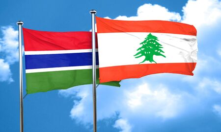 lebanon: Gambia flag with Lebanon flag, 3D rendering