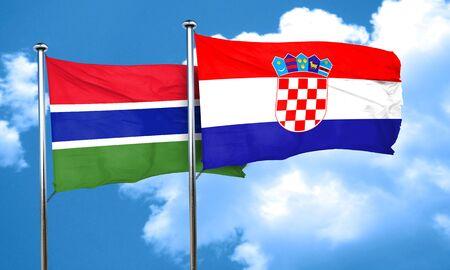croatia flag: Gambia flag with Croatia flag, 3D rendering