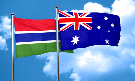 gambia: Gambia flag with Australia flag, 3D rendering