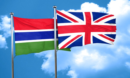 british culture: Gambia flag with Great Britain flag, 3D rendering