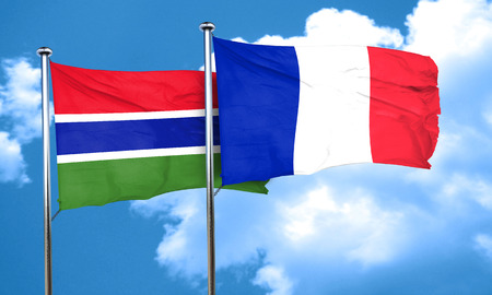 gambia: Gambia flag with France flag, 3D rendering Stock Photo