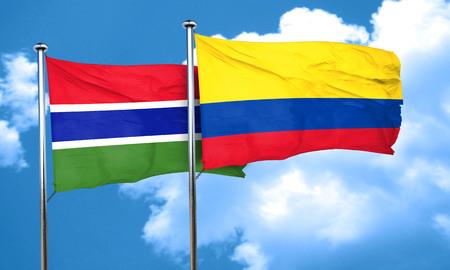 colombia flag: Gambia flag with Colombia flag, 3D rendering