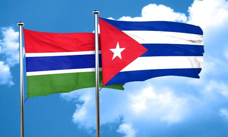 gambia: Gambia flag with cuba flag, 3D rendering Stock Photo