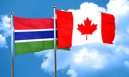canadian state flag: Gambia flag with Canada flag, 3D rendering Stock Photo