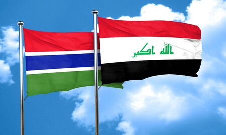 iraq flag: Gambia flag with Iraq flag, 3D rendering