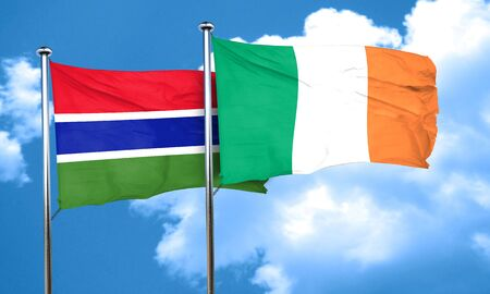 gambia: Gambia flag with Ireland flag, 3D rendering