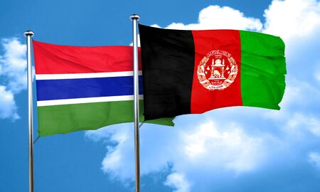 afghanistan flag: Gambia flag with afghanistan flag, 3D rendering Stock Photo