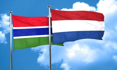 netherlands flag: Gambia flag with Netherlands flag, 3D rendering
