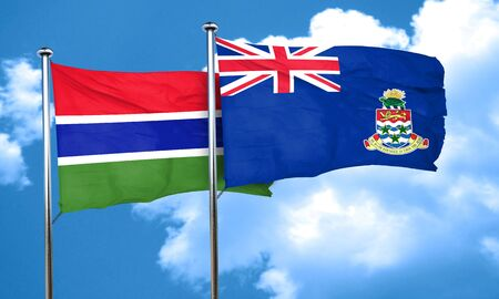cayman: Gambia flag with Cayman islands flag, 3D rendering