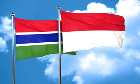 gambia: Gambia flag with Indonesia flag, 3D rendering Stock Photo